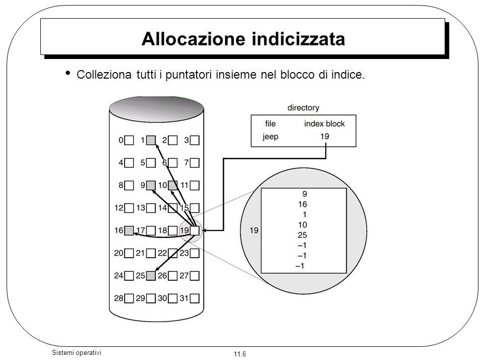 11.7 Sistemi operativi Allocazione indicizzata Richiede una tabella di indice E possibile un accesso casuale Si ha un accesso dinamico senza frammentazione esterna, ma cè il sovraccarico del blocco di indice.