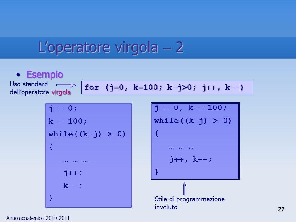 Anno accademico 2010-2011 EsempioEsempio for (j 0, k 100; k j>0; j, k ) j 0, k 100; while((k j) > 0) { … … … j, k ; } j 0; k 100; while((k j) > 0) { … … … j ; k ; } Stile di programmazione involuto virgola Uso standard delloperatore virgola 27 Loperatore virgola 2