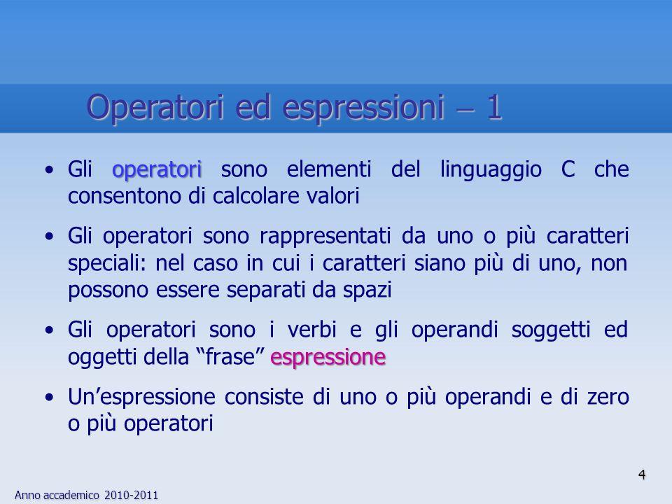 Anno accademico 2010-2011 Espressioni costanti: contengono solo valori costanti5 5 6 13/3.0 a Espressioni intere: dopo le conversioni automatiche ed esplicite, producono un risultato di tipo intero j j k j/k 3 k a 3 (int)5.0 Espressioni floating: dopo le conversioni automatiche ed esplicite, producono un risultato di tipo floating point x x 3 x/y 5 3.0 3.0 2 3 (float)4 Espressioni puntatore: Contengono variabili di tipo puntatore, loperatore &, stringhe e nomi di array, e producono come risultato un indirizzo di memoriap&j p 1 abc 5 Operatori ed espressioni 2