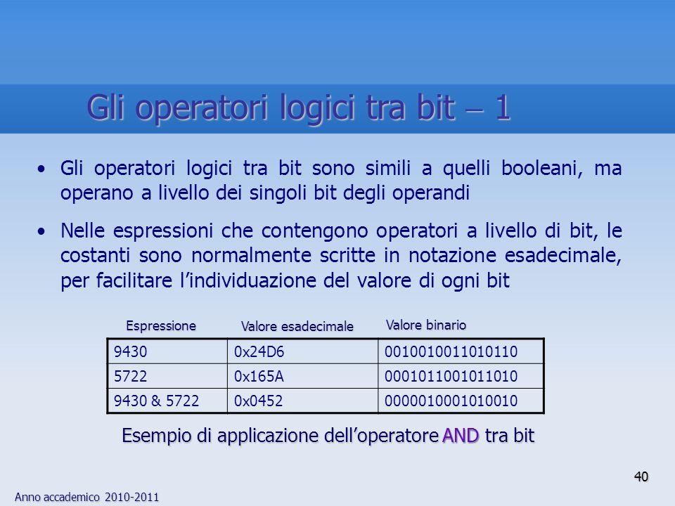 Anno accademico 2010-2011 Gli operatori logici tra bit sono simili a quelli booleani, ma operano a livello dei singoli bit degli operandi Nelle espressioni che contengono operatori a livello di bit, le costanti sono normalmente scritte in notazione esadecimale, per facilitare lindividuazione del valore di ogni bit 94300x24D60010010011010110 57220x165A0001011001011010 9430 & 57220x04520000010001010010 Esempio di applicazione delloperatore AND tra bit Valore binario Espressione Valore esadecimale 40 Gli operatori logici tra bit 1