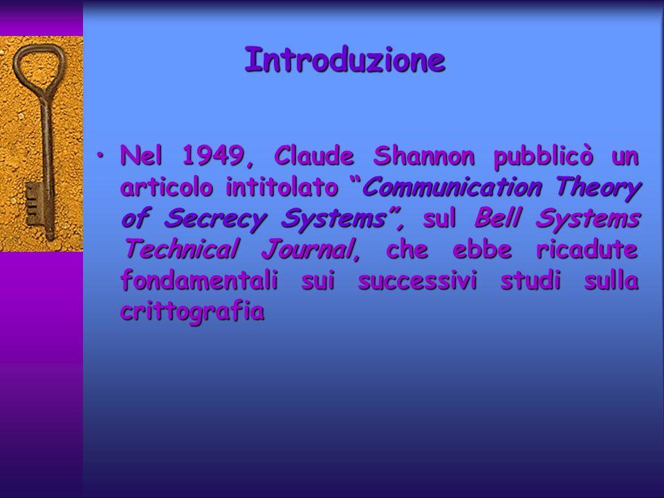 Introduzione Nel 1949, Claude Shannon pubblicò un articolo intitolato Communication Theory of Secrecy Systems, sul Bell Systems Technical Journal, che