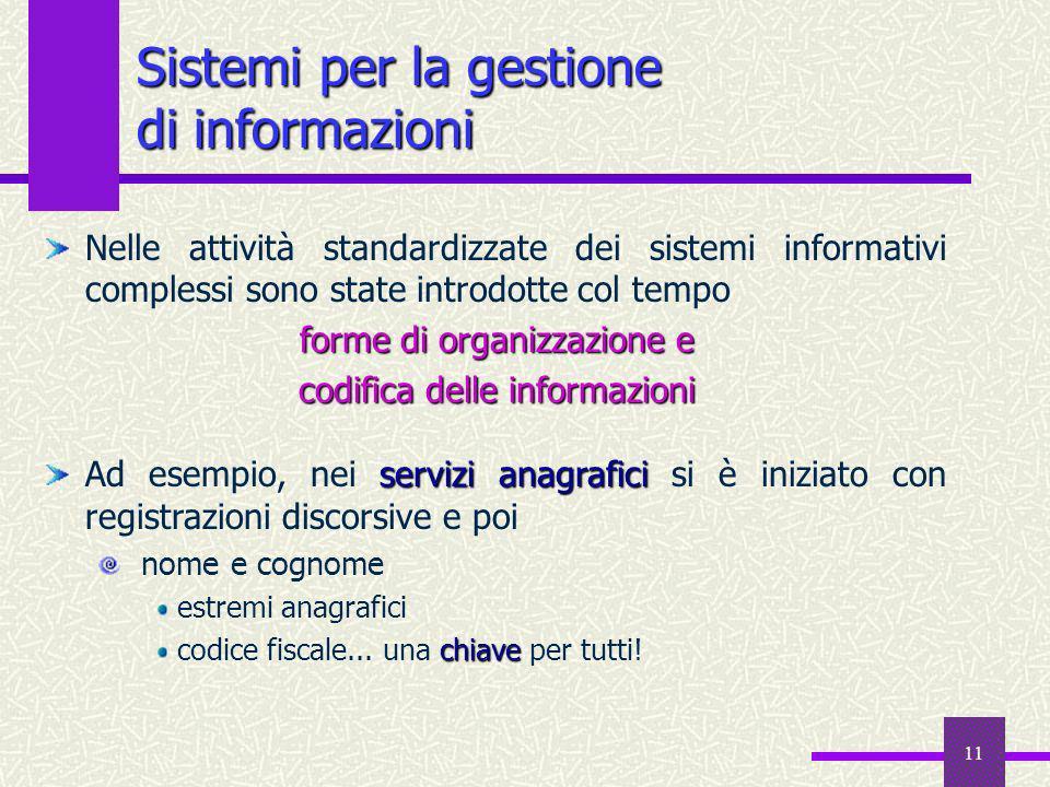 11 Sistemi per la gestione di informazioni Nelle attività standardizzate dei sistemi informativi complessi sono state introdotte col tempo forme di or