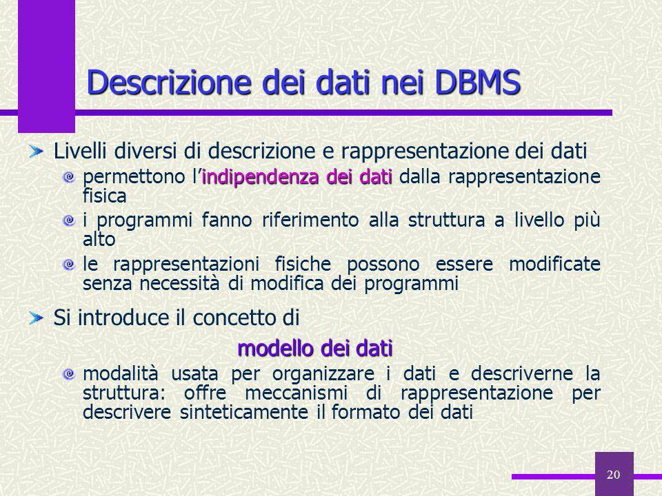 20 Descrizione dei dati nei DBMS Livelli diversi di descrizione e rappresentazione dei dati indipendenza dei dati permettono lindipendenza dei dati da