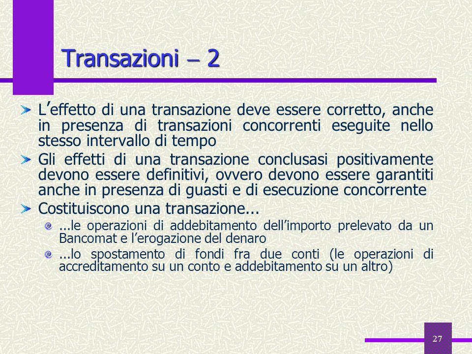 27 Transazioni 2 L effetto di una transazione deve essere corretto, anche in presenza di transazioni concorrenti eseguite nello stesso intervallo di t