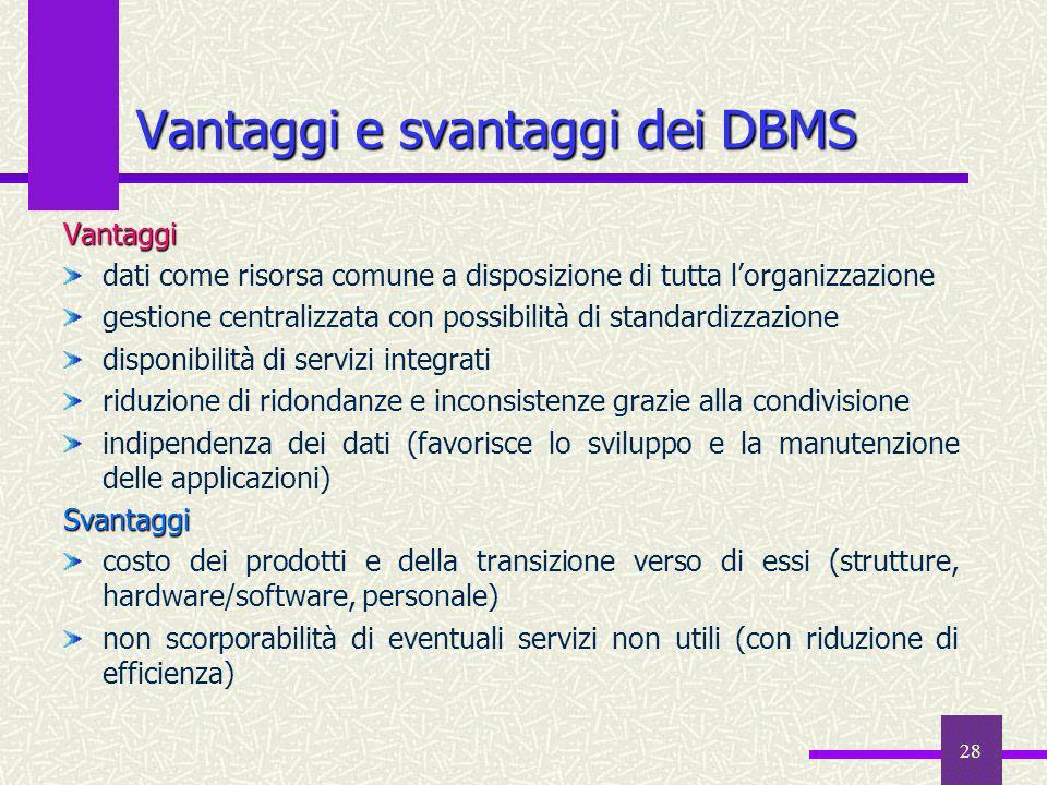 28 Vantaggi e svantaggi dei DBMS Vantaggi dati come risorsa comune a disposizione di tutta lorganizzazione gestione centralizzata con possibilità di s