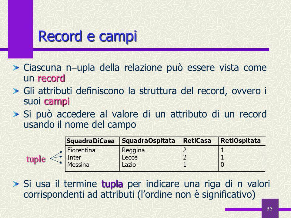 35 Record e campi record Ciascuna n upla della relazione può essere vista come un record campi Gli attributi definiscono la struttura del record, ovve