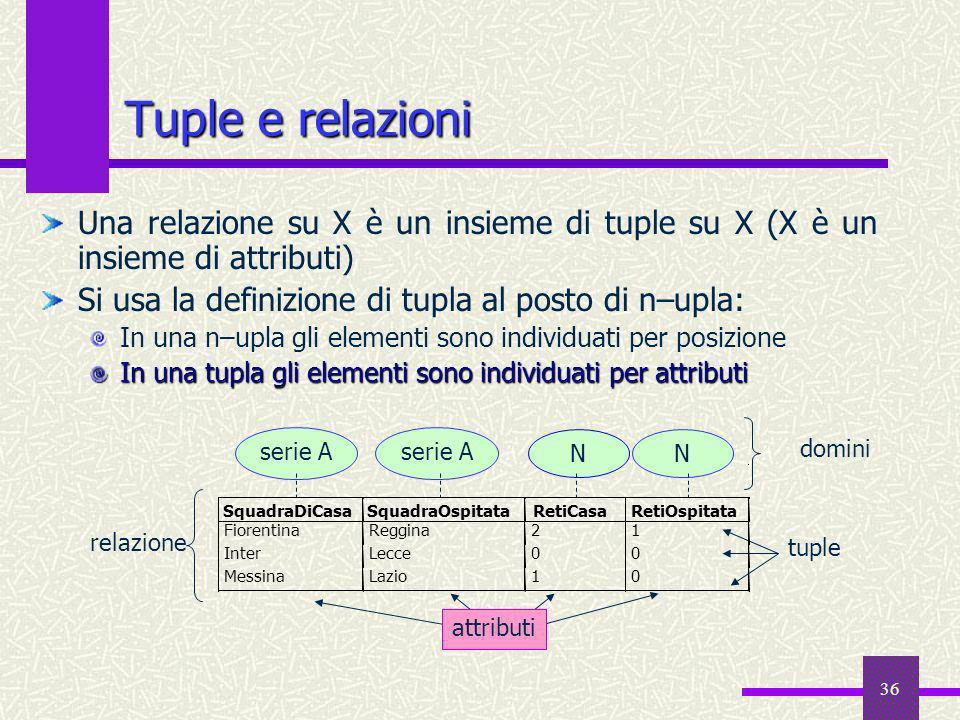 36 Tuple e relazioni Una relazione su X è un insieme di tuple su X (X è un insieme di attributi) Si usa la definizione di tupla al posto di n–upla: In