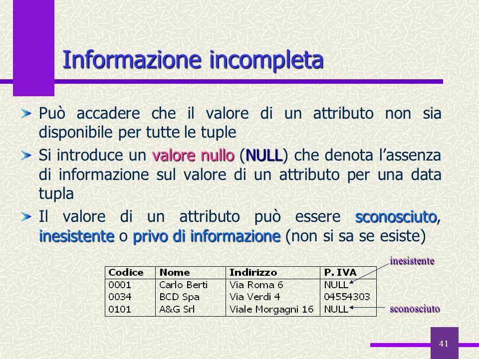 41 Informazione incompleta Può accadere che il valore di un attributo non sia disponibile per tutte le tuple valore nulloNULL Si introduce un valore n