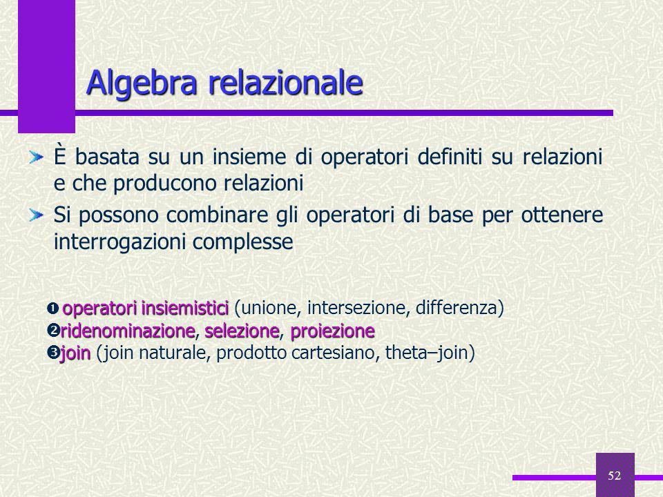 52 Algebra relazionale È basata su un insieme di operatori definiti su relazioni e che producono relazioni Si possono combinare gli operatori di base