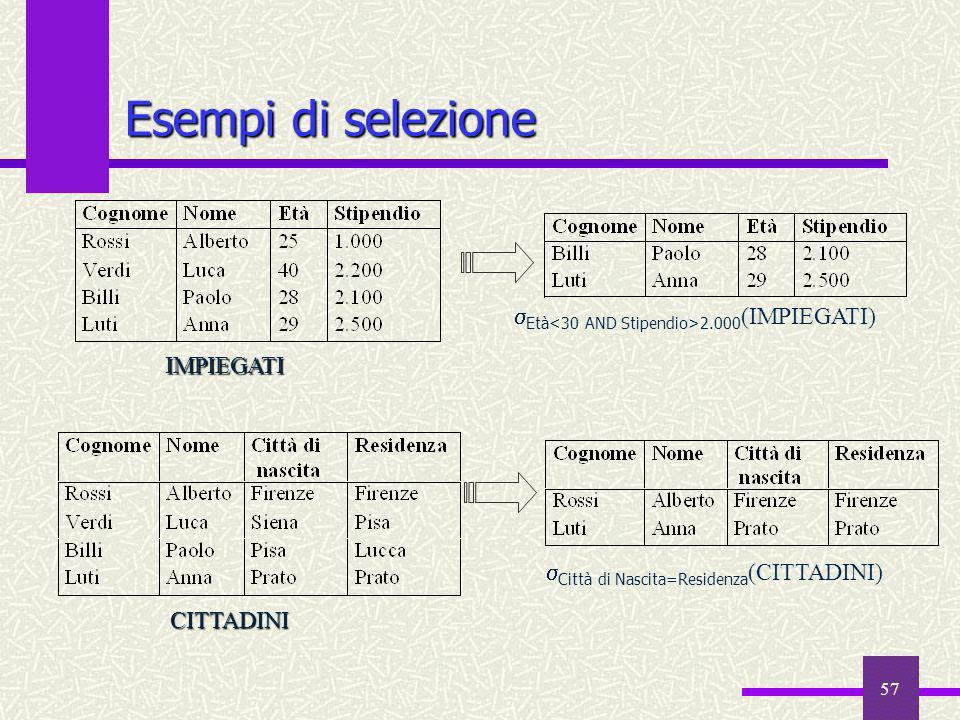 57 Esempi di selezione Età 2.000 (IMPIEGATI) IMPIEGATI CITTADINI Città di Nascita=Residenza (CITTADINI)