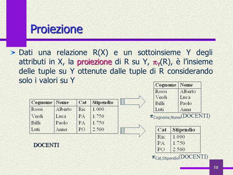 58 Proiezione proiezione Y Dati una relazione R(X) e un sottoinsieme Y degli attributi in X, la proiezione di R su Y, Y (R), è linsieme delle tuple su
