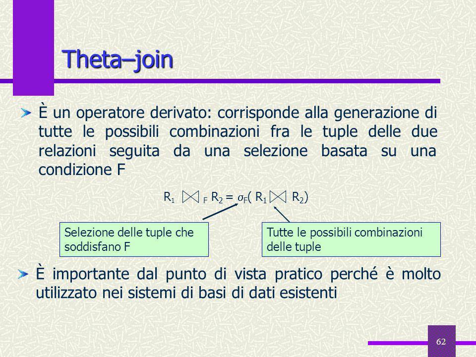 62 Theta–join È un operatore derivato: corrisponde alla generazione di tutte le possibili combinazioni fra le tuple delle due relazioni seguita da una