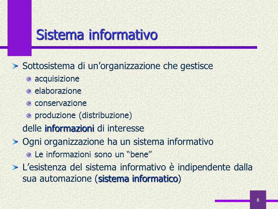 8 Sistema informativo Sottosistema di unorganizzazione che gestisce acquisizione elaborazione conservazione produzione (distribuzione) informazioni de