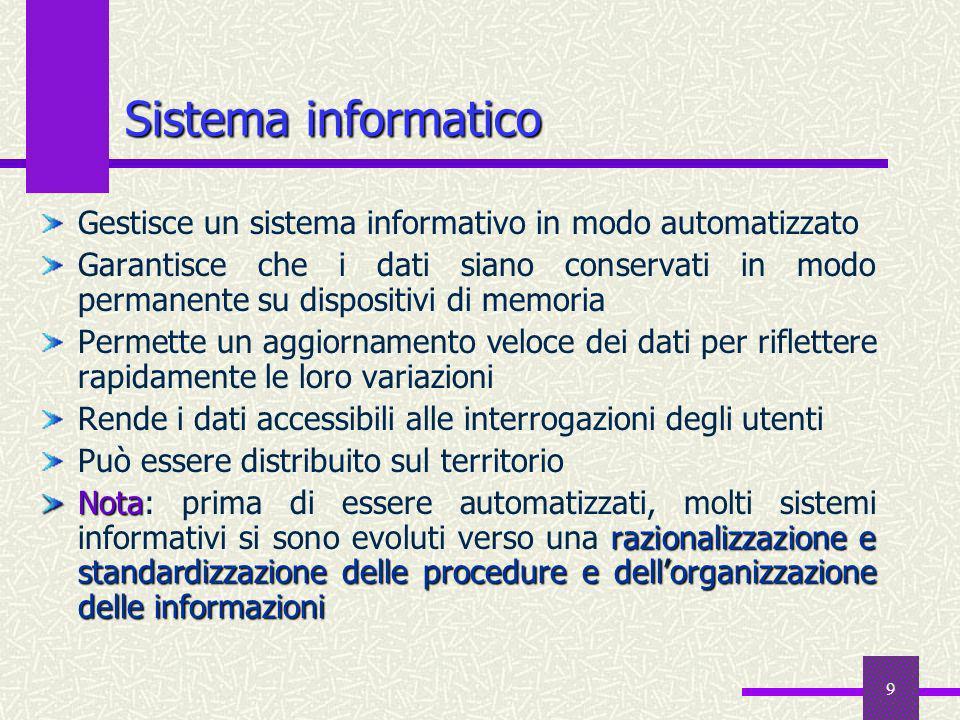 9 Sistema informatico Gestisce un sistema informativo in modo automatizzato Garantisce che i dati siano conservati in modo permanente su dispositivi d