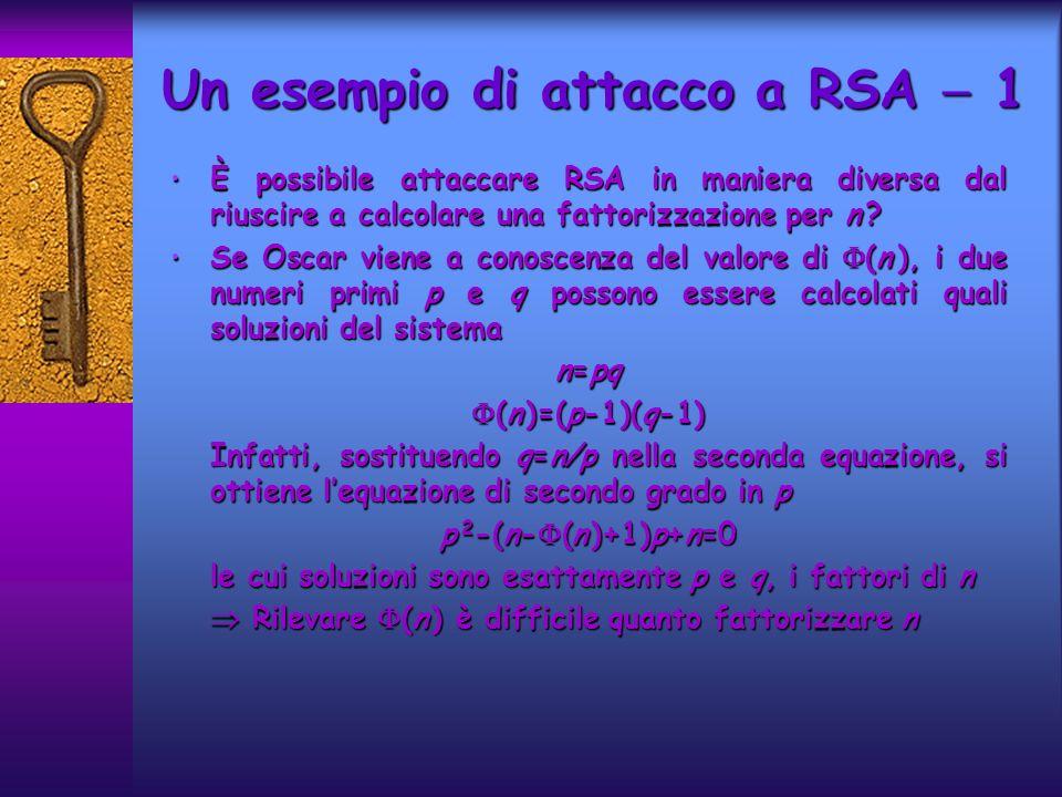 È possibile attaccare RSA in maniera diversa dal riuscire a calcolare una fattorizzazione per n .