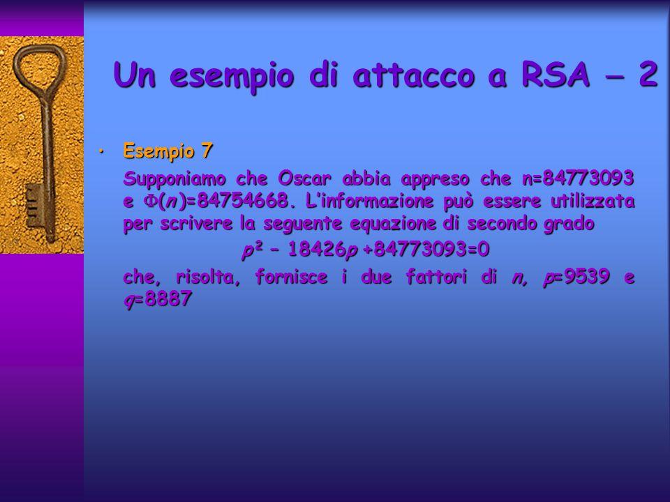Esempio 7 Esempio 7 Supponiamo che Oscar abbia appreso che n=84773093 e (n )=84754668.