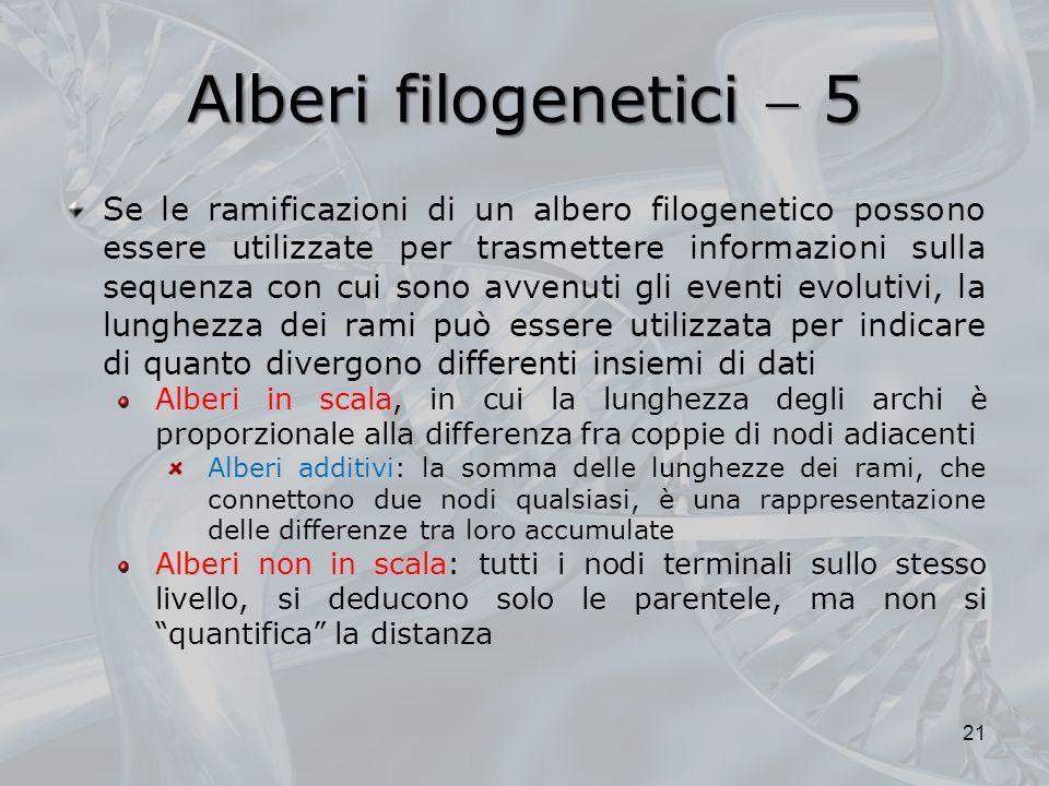 Alberi filogenetici 5 21 Se le ramificazioni di un albero filogenetico possono essere utilizzate per trasmettere informazioni sulla sequenza con cui s