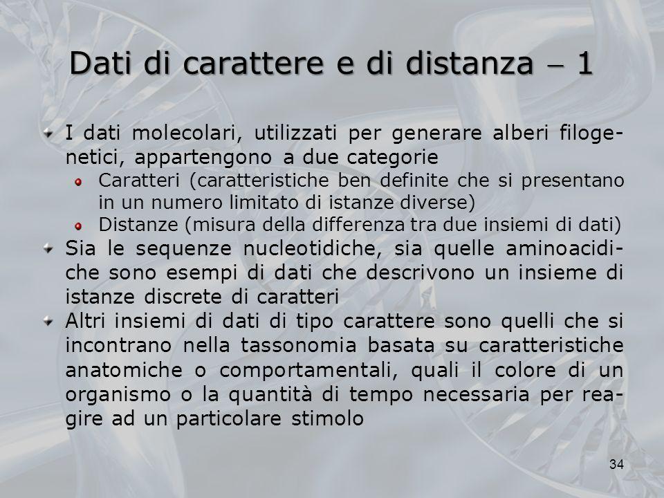 Dati di carattere e di distanza 1 34 I dati molecolari, utilizzati per generare alberi filoge- netici, appartengono a due categorie Caratteri (caratte