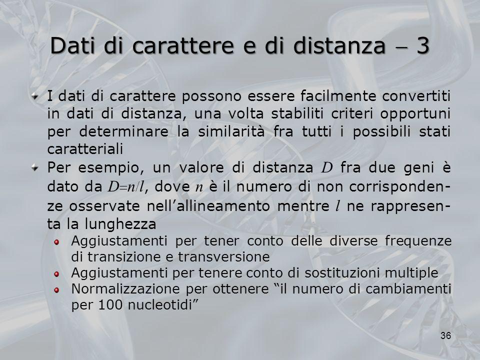 Dati di carattere e di distanza 3 36 I dati di carattere possono essere facilmente convertiti in dati di distanza, una volta stabiliti criteri opportu