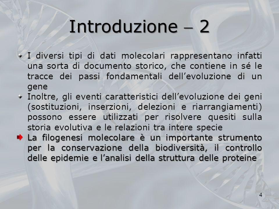 Introduzione 2 I diversi tipi di dati molecolari rappresentano infatti una sorta di documento storico, che contiene in sé le tracce dei passi fondamen