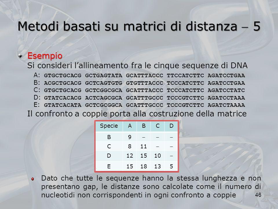 Metodi basati su matrici di distanza 5 46 Esempio Si consideri lallineamento fra le cinque sequenze di DNA A: GTGCTGCACG GCTGAGTATA GCATTTACCC TTCCATC