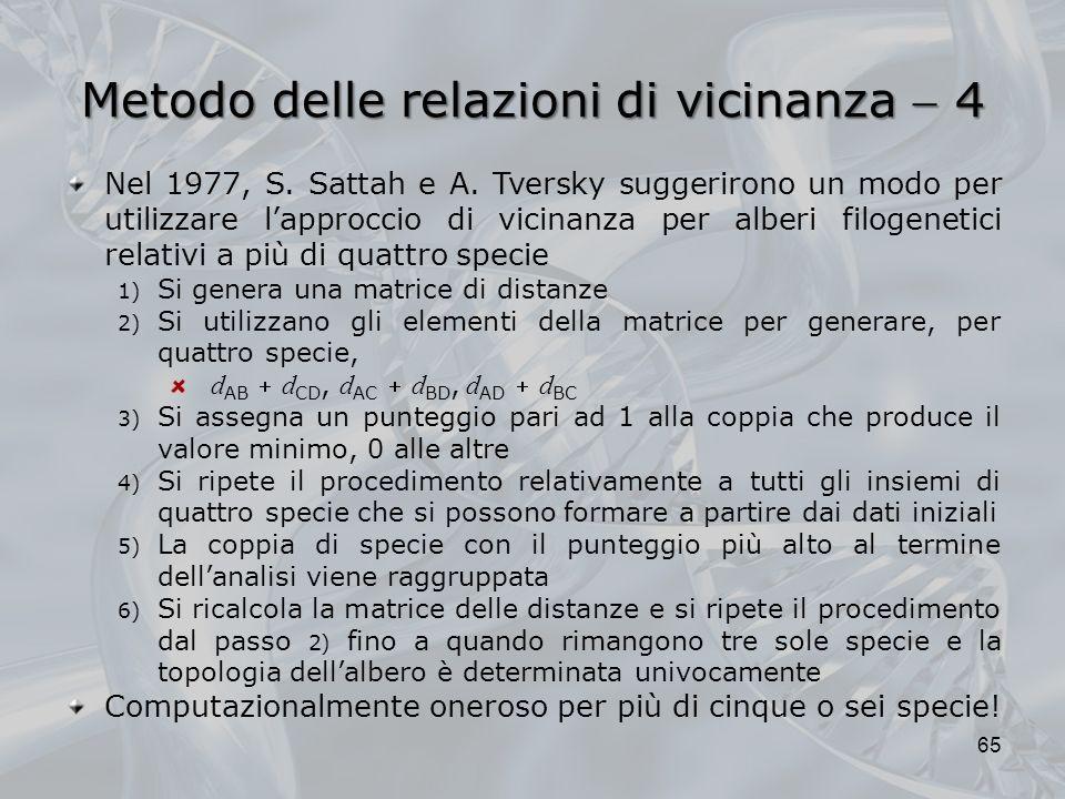 Metodo delle relazioni di vicinanza 4 65 Nel 1977, S. Sattah e A. Tversky suggerirono un modo per utilizzare lapproccio di vicinanza per alberi filoge