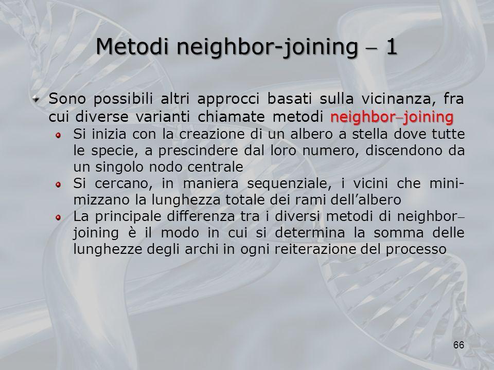 Metodi neighbor-joining 1 66 neighborjoining Sono possibili altri approcci basati sulla vicinanza, fra cui diverse varianti chiamate metodi neighborjo