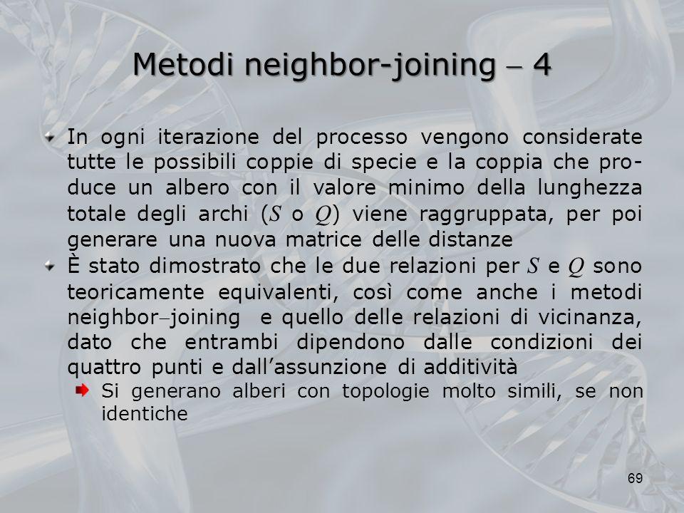 Metodi neighbor-joining 4 69 In ogni iterazione del processo vengono considerate tutte le possibili coppie di specie e la coppia che pro- duce un albe