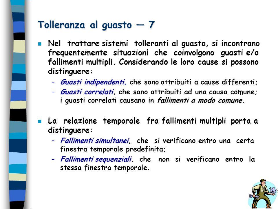 Tolleranza al guasto 7 n Nel trattare sistemi tolleranti al guasto, si incontrano frequentemente situazioni che coinvolgono guasti e/o fallimenti mult