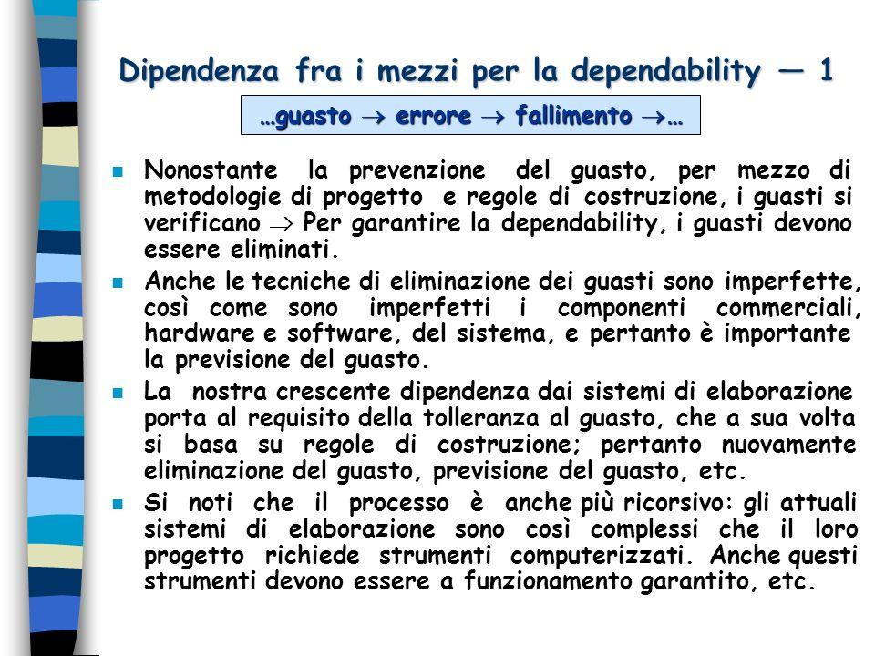 Dipendenza fra i mezzi per la dependability 1 n Nonostante la prevenzione del guasto, per mezzo di metodologie di progetto e regole di costruzione, i