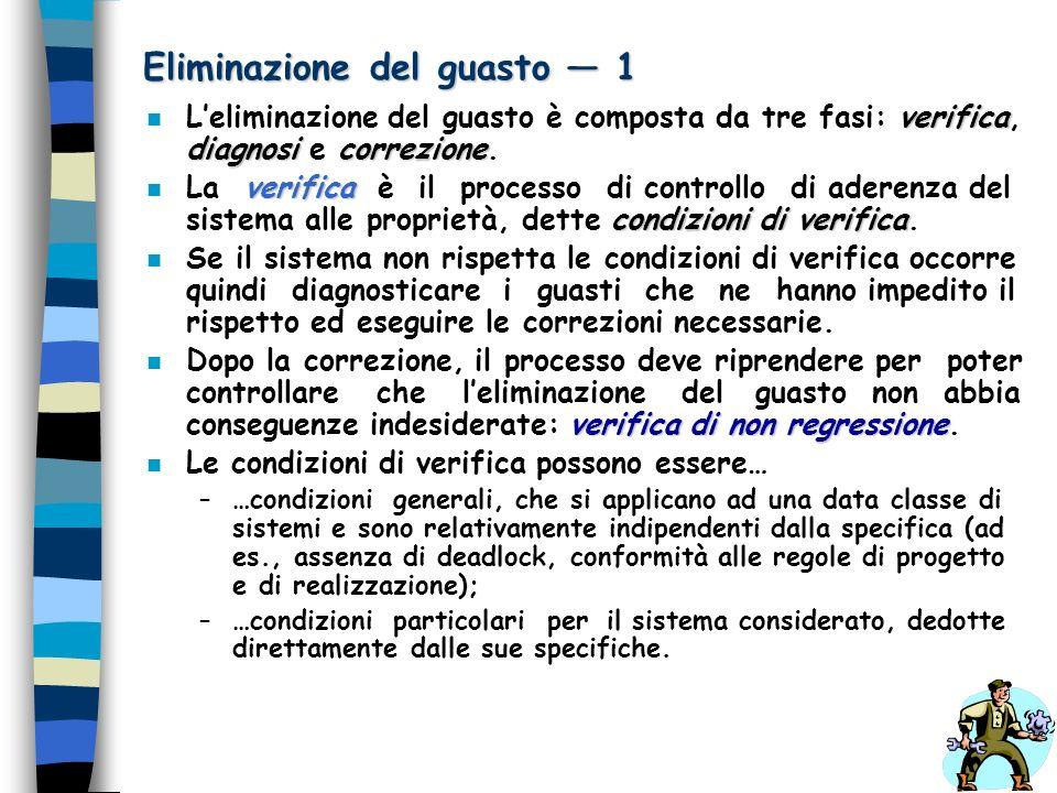 Eliminazione del guasto 1 verifica diagnosicorrezione n Leliminazione del guasto è composta da tre fasi: verifica, diagnosi e correzione. verifica con