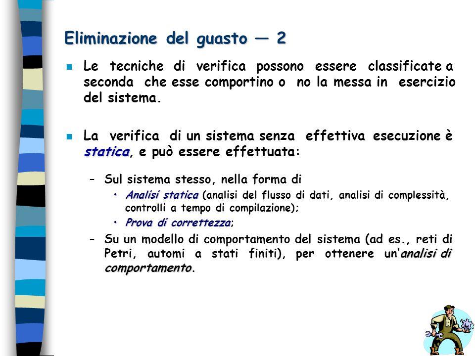 Eliminazione del guasto 2 n Le tecniche di verifica possono essere classificate a seconda che esse comportino o no la messa in esercizio del sistema.