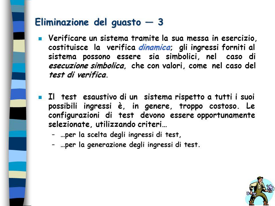 Eliminazione del guasto 3 dinamica esecuzione simbolica test di verifica n Verificare un sistema tramite la sua messa in esercizio, costituisce la ver