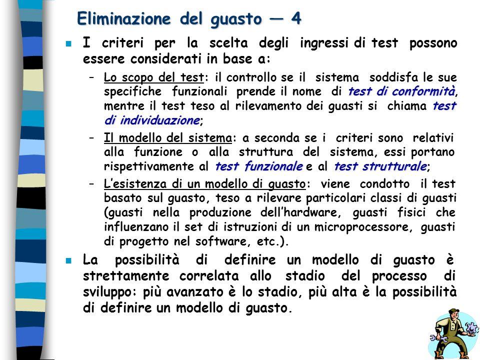 Eliminazione del guasto 4 n I criteri per la scelta degli ingressi di test possono essere considerati in base a: test di conformità test di individuaz