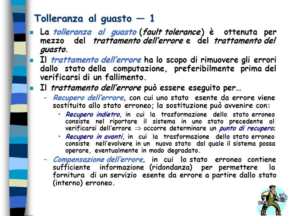 Tolleranza al guasto 1 tolleranza al guastofault tolerance trattamento dellerroretrattamento del guasto n La tolleranza al guasto (fault tolerance ) è