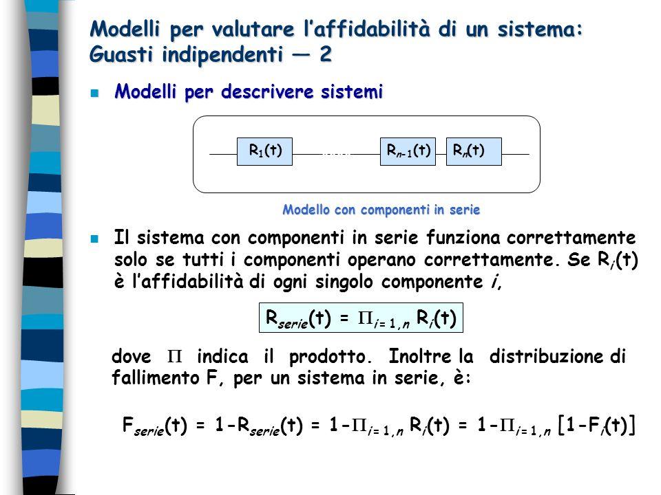 Modelli per valutare laffidabilità di un sistema: Guasti indipendenti 2 n Modelli per descrivere sistemi n Il sistema con componenti in serie funziona