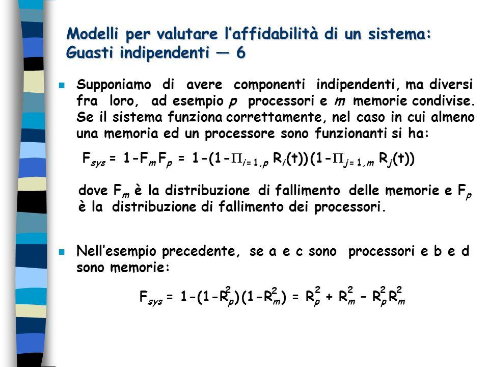 Modelli per valutare laffidabilità di un sistema: Guasti indipendenti 6 n Supponiamo di avere componenti indipendenti, ma diversi fra loro, ad esempio