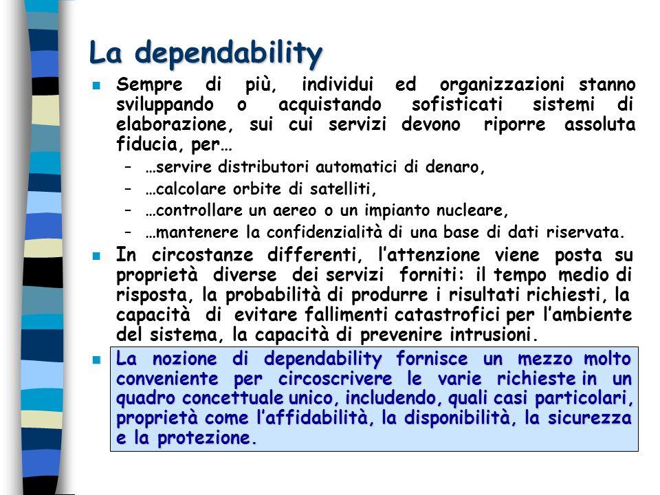 La dependability n Sempre di più, individui ed organizzazioni stanno sviluppando o acquistando sofisticati sistemi di elaborazione, sui cui servizi de