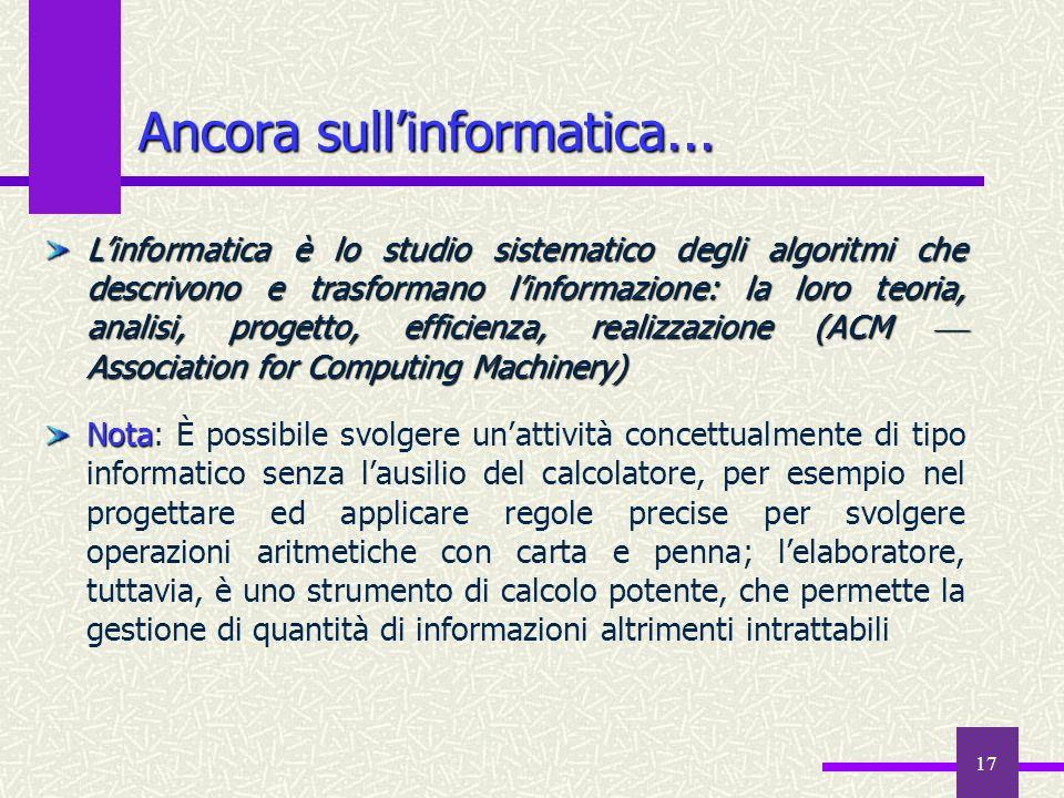 17 Ancora sullinformatica... Linformatica è lo studio sistematico degli algoritmi che descrivono e trasformano linformazione: la loro teoria, analisi,