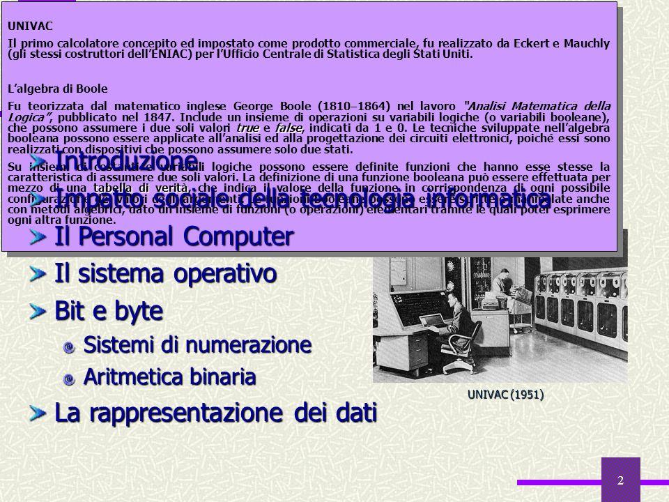 2 Sommario UNIVAC (1951) UNIVAC Il primo calcolatore concepito ed impostato come prodotto commerciale, fu realizzato da Eckert e Mauchly (gli stessi c