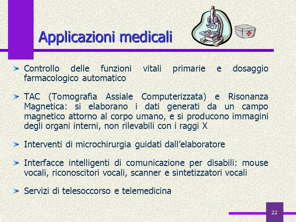 22 Applicazioni medicali Controllo delle funzioni vitali primarie e dosaggio farmacologico automatico TAC (Tomografia Assiale Computerizzata) e Risona