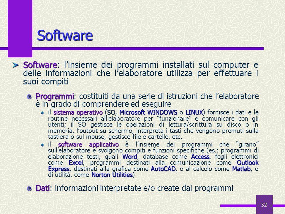 32 Software Software Software: linsieme dei programmi installati sul computer e delle informazioni che lelaboratore utilizza per effettuare i suoi com