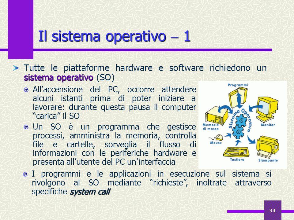 34 Il sistema operativo 1 sistema operativo Tutte le piattaforme hardware e software richiedono un sistema operativo (SO) system call I programmi e le