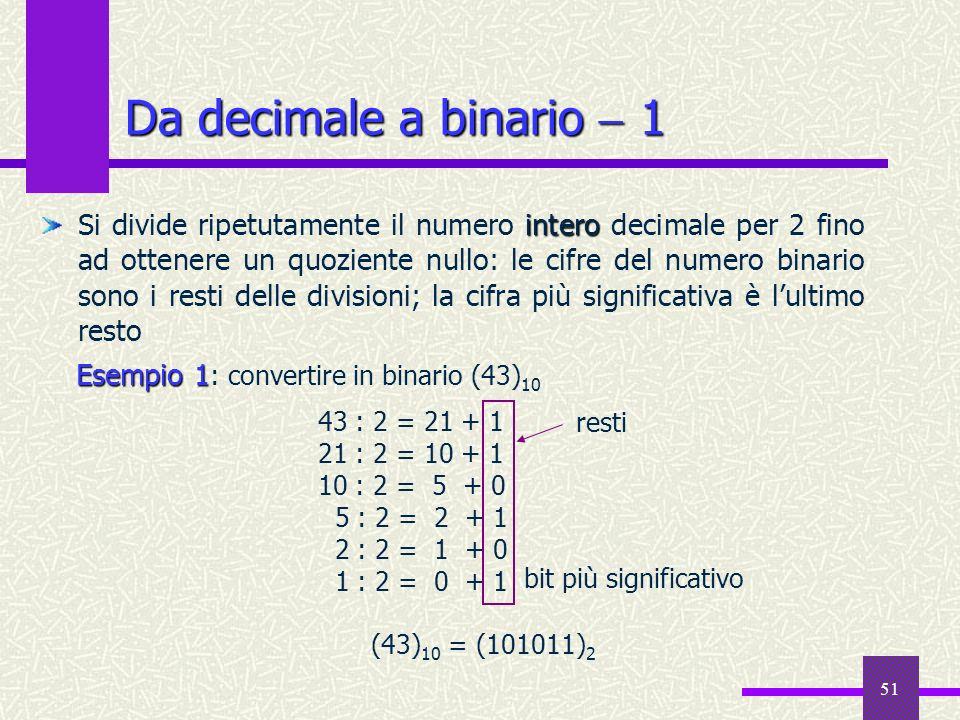 51 Da decimale a binario 1 intero Si divide ripetutamente il numero intero decimale per 2 fino ad ottenere un quoziente nullo: le cifre del numero bin