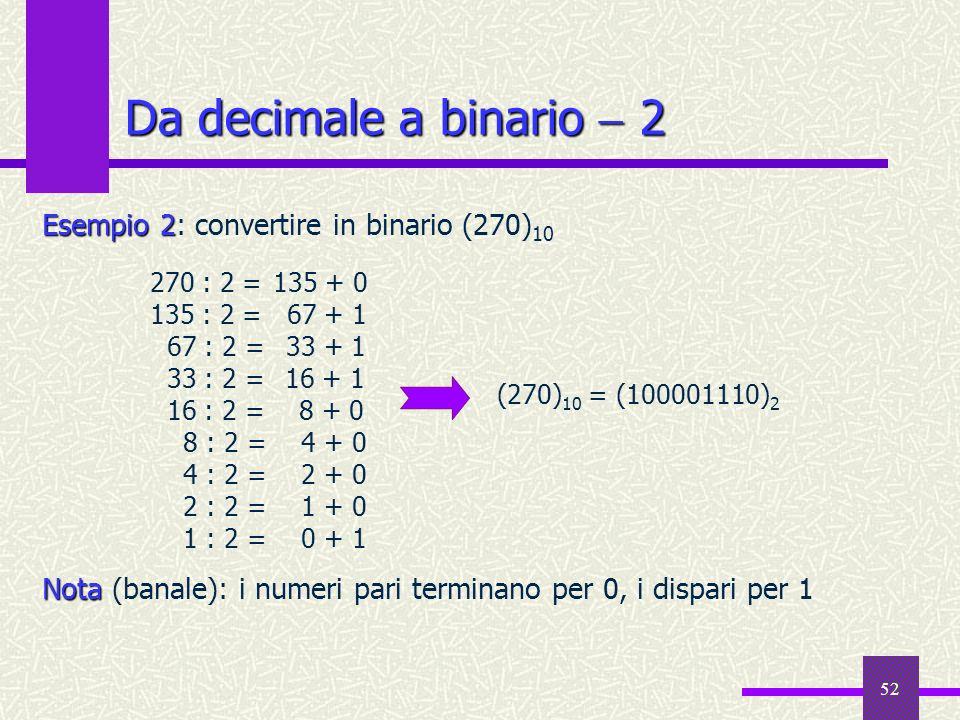 52 Da decimale a binario 2 Esempio 2 Esempio 2: convertire in binario (270) 10 Nota Nota (banale): i numeri pari terminano per 0, i dispari per 1 270