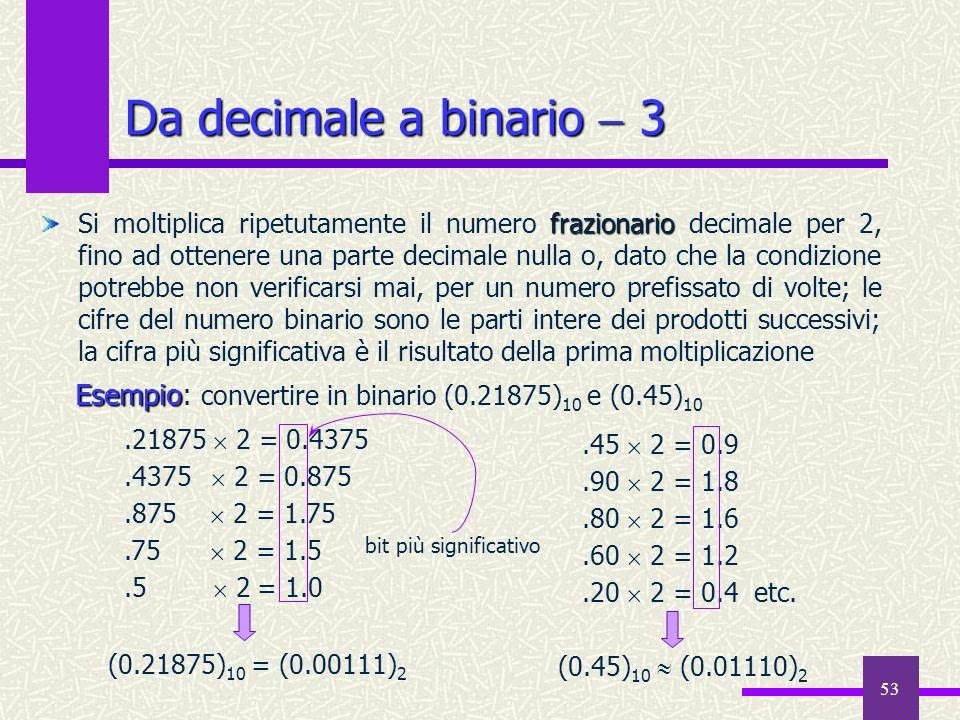 53 frazionario Si moltiplica ripetutamente il numero frazionario decimale per 2, fino ad ottenere una parte decimale nulla o, dato che la condizione p