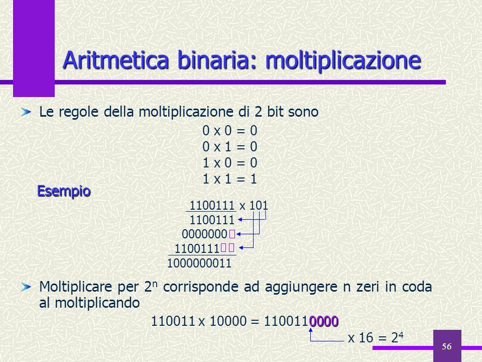 56 Aritmetica binaria: moltiplicazione Le regole della moltiplicazione di 2 bit sono Moltiplicare per 2 n corrisponde ad aggiungere n zeri in coda al
