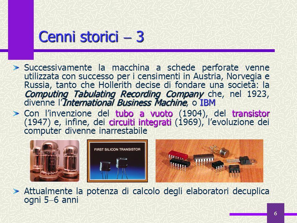 6 Cenni storici 3 Computing Tabulating Recording Company International Business MachineIBM Successivamente la macchina a schede perforate venne utiliz