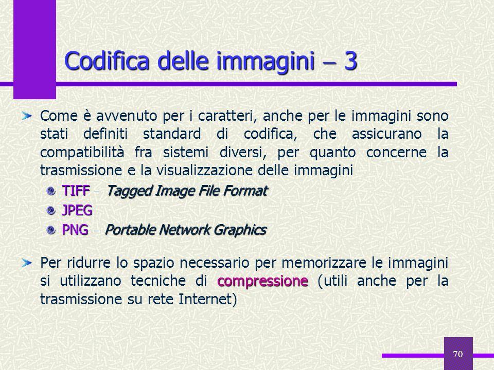 70 Codifica delle immagini 3 Come è avvenuto per i caratteri, anche per le immagini sono stati definiti standard di codifica, che assicurano la compat