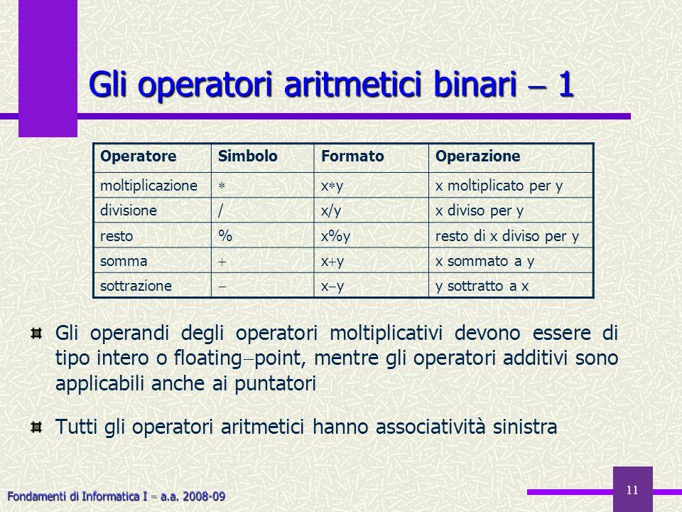 Fondamenti di Informatica I a.a. 2008-09 11 Gli operatori aritmetici binari 1 Gli operandi degli operatori moltiplicativi devono essere di tipo intero
